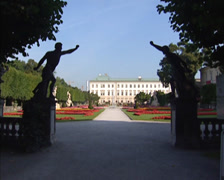 View at Mirabell Palace behind palace gardens Stock Footage