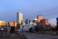 Bright Sun on Downtown Denver Buildings Stock Photos