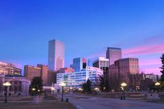 Downtown Denver Pink Clouds at Dawn Kuvituskuvat