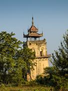 inwa watchtower, myanmar - stock photo
