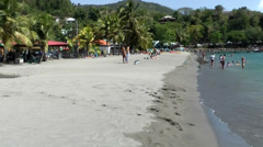 Guadeloupe Basse Terre district 042 wide view over plage de malendure beach Stock Footage