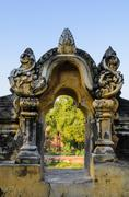 burmese temple door sculpture - stock photo