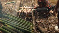 Borneo Jungle Lunch Fire Stock Footage
