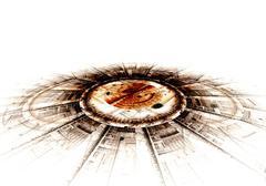 computer generated illustration rendered fractal solar blue - stock illustration