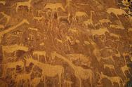Stock Photo of rock art engravings at twyfelfontein world heritage site at uibasen conservan
