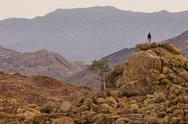 Stock Photo of a person standing on a rock pile overlooking brandberg, tsiseb conservancy