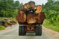 Truck loaded with rainforest timber, atobiase, ghana Stock Photos