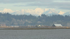 Boundary Bay and Coast Mountains, BC Stock Footage