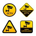 Stock Illustration of Video surveillance, set labels