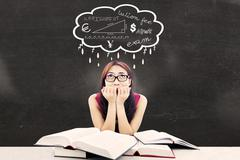 Stock Illustration of nervous college student 1