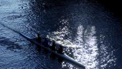 Rowing at sunset Stock Footage