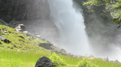Krimml Waterfalls and green meadow. (Austria) Stock Footage