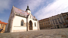 Saint Mark Church in Zagreb, Croatia - stock footage