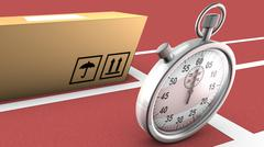 box and stopwatch racing. this symbolizes on time delivery - stock illustration