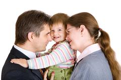 Playing mother, father and child in office Stock Photos