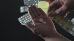 Hand Detail Of A Mature Woman Taking Pills High Angle-Shot Stock Footage