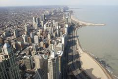 Aerial View of the Chicago, Illinois Shoreline Stock Photos