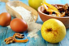 ingredients for making apple pie. - stock photo