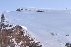 Skiing, Skier, Freeride in fresh powder snow - stock photo