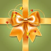 Gold bow of silk ribbon Stock Illustration