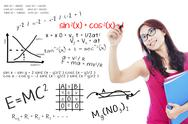 Stock Illustration of college student write math formula