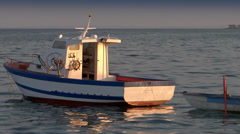 anchored small boat - stock footage