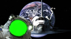 Astronaut Spacewalk with Green Screen Stock Footage