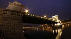 4K Chain Bridge Budapest Hungary Winter Evening Timelapse Fisheye 2 Stock Footage