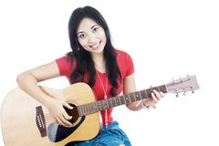 Female guitarist Stock Photos