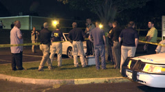 FBI and police investigators and car WS Stock Footage
