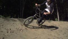 SLOW MOTION: Bmx bikers riding - stock footage