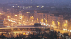 Budapest Hungary Winter Timelapse 56 tilt shift - stock footage