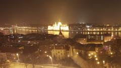 Budapest Hungary Winter Timelapse Fisheye 61 pan Stock Footage