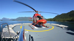 Low angle of a helicopter taking off Stock Footage