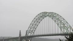 Newport Oregon Bridge in the Fog Stock Footage