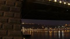 Chain Bridge Budapest Hungary Winter Evening Timelapse Fisheye 7 pan Stock Footage