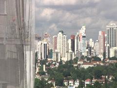 Sao Paulo landcape workers 02 Stock Footage