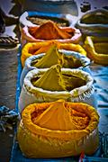 Stock Photo of spices in bags at market, arunachal pradesh, india