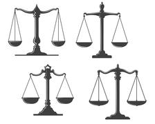 vintage justice scales - stock illustration