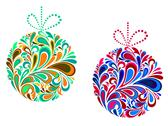 Stock Illustration of holidays christmas balls in floral style