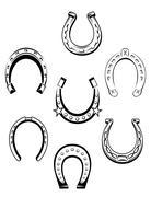 Set of horseshoe icons Stock Illustration