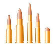set of gun bullets and ammunition - stock illustration