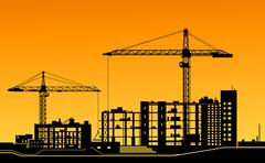 Working cranes on construction site Stock Illustration