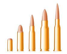 set of gun bullets - stock illustration