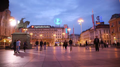 Ban Jelacic square in Zagreb, Croatia - stock footage