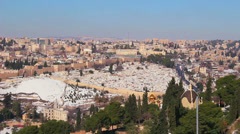 Wide view overlooking Jerusalem following an unusual snowfall. Stock Footage