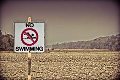 signboard no swimming at noa-dehing river, namdapha, arunachal pradesh, india - stock photo