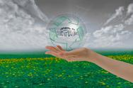 Stock Illustration of hand holding bubble with save earth, environment concept