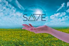 hand holding bubble with save earth, environment concept - stock illustration