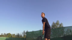 Professional Tennis Player Serves And Expresses Achievement Stock Footage